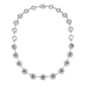 6.64 CTW Ruby Tennis  Necklace in 14K White Gold
