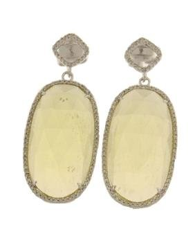 33.41 CTW Quartz & Diamond Dangling Earring 14K White