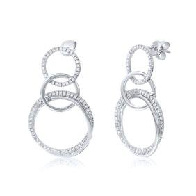0.80 CTW Diamond Dangling Earring 14K White Gold