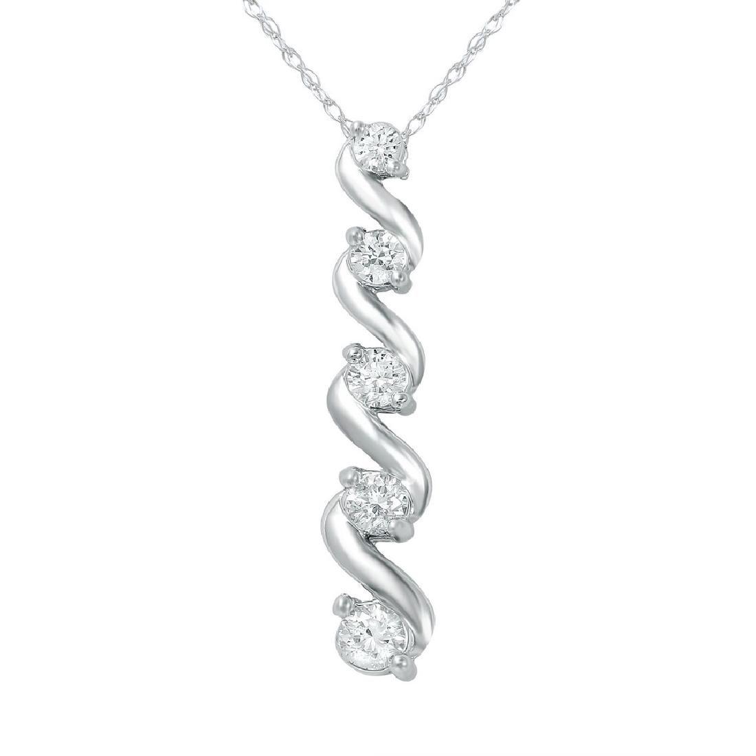 0.50 CTW Diamond Slider w/ Chain Necklace 14K White