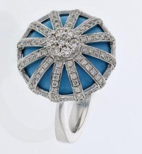 9.95 CTW Turquoise Fashion Ring 14K White Gold