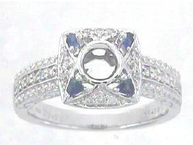 0.39 CTW Sapphire & Diamond Semi Mount Ring 14K White