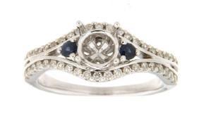 0.45 CTW Sapphire & Diamond Semi Mount Ring 14K White