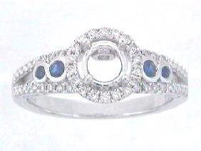 0.42 CTW Sapphire & Diamond Semi Mount Ring 14K White