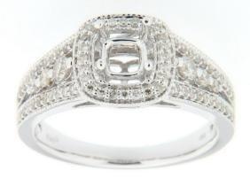 0.51 CTW Ruby & Diamond Semi Mount Ring 14K White Gold