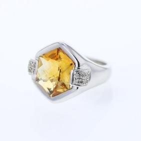 4.46 CTW Citrine Fashion Ring 14K White Gold