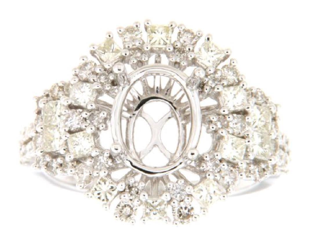 1.38 CTW Diamond Semi Mount Ring in 14K  White Gold
