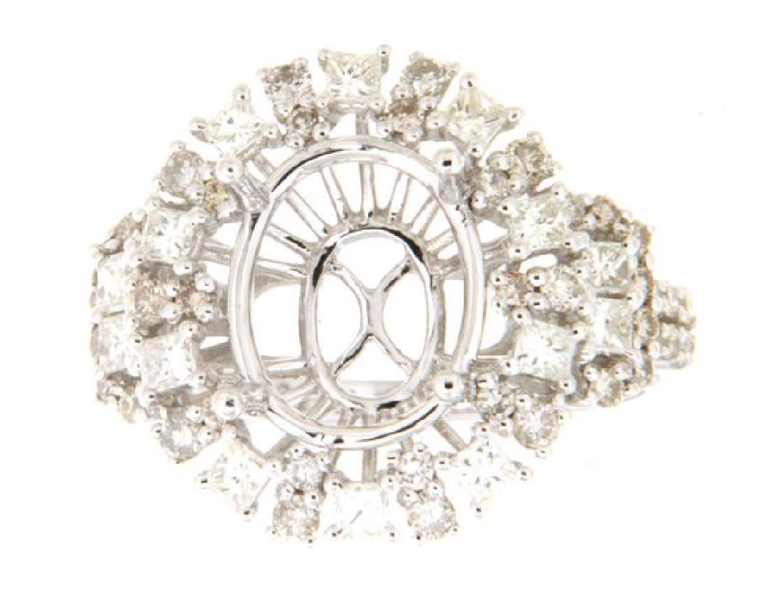 1.4 CTW Diamond Semi Mount  Ring in 14K White Gold