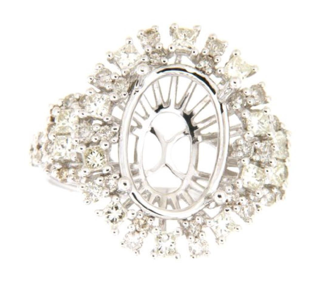 1.36 CTW Diamond Semi Mount Ring in 14K  White Gold