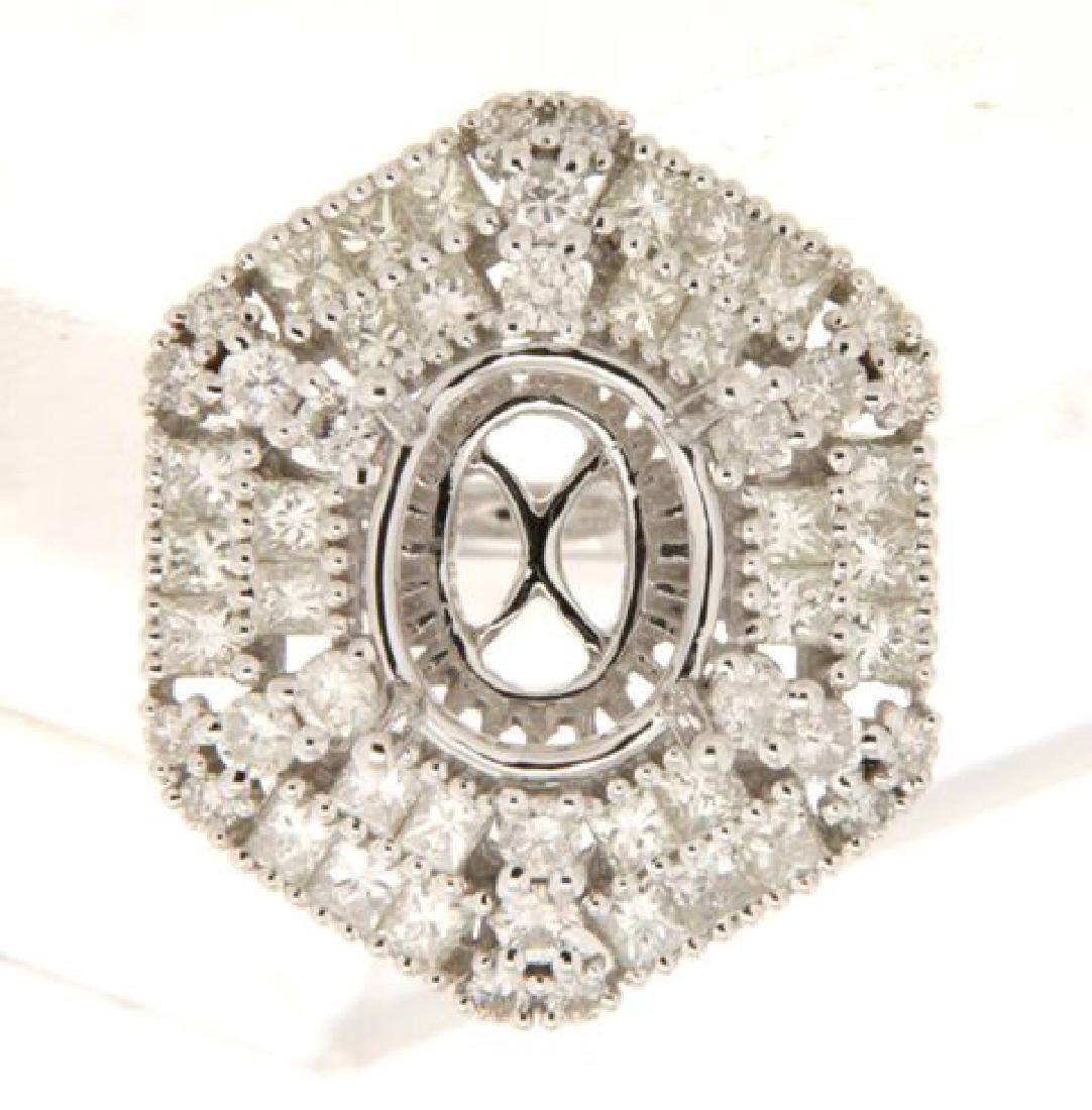 2.29 CTW Diamond Semi Mount Ring in 14K  White Gold