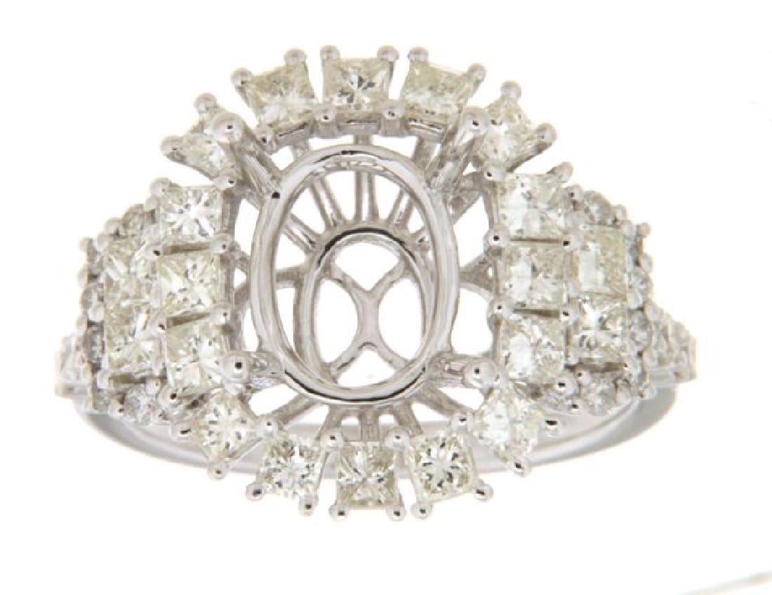 1.72 CTW Diamond Semi Mount Ring in 14K  White Gold