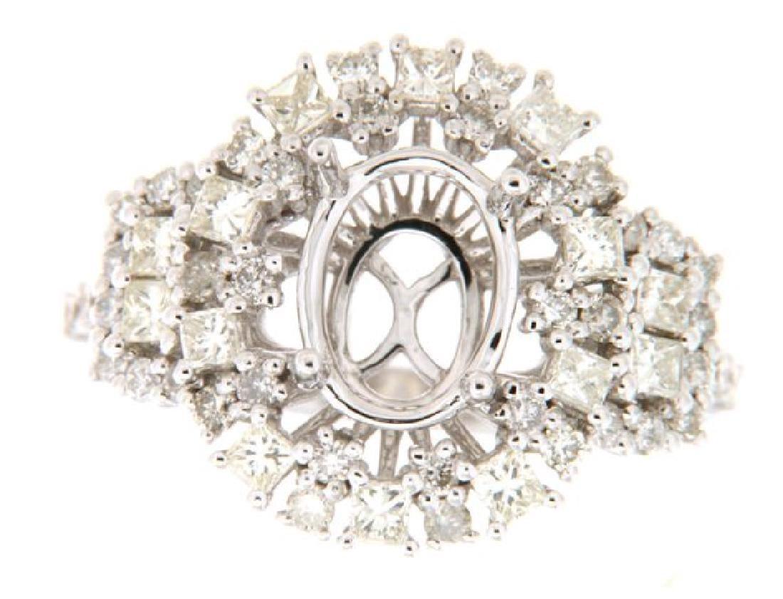 1.31 CTW Diamond Semi Mount Ring in 14K  White Gold