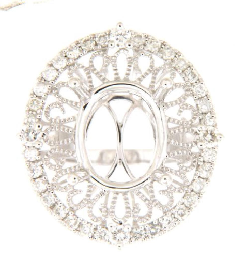 0.54 CTW Diamond Semi Mount  Ring in 14K White Gold
