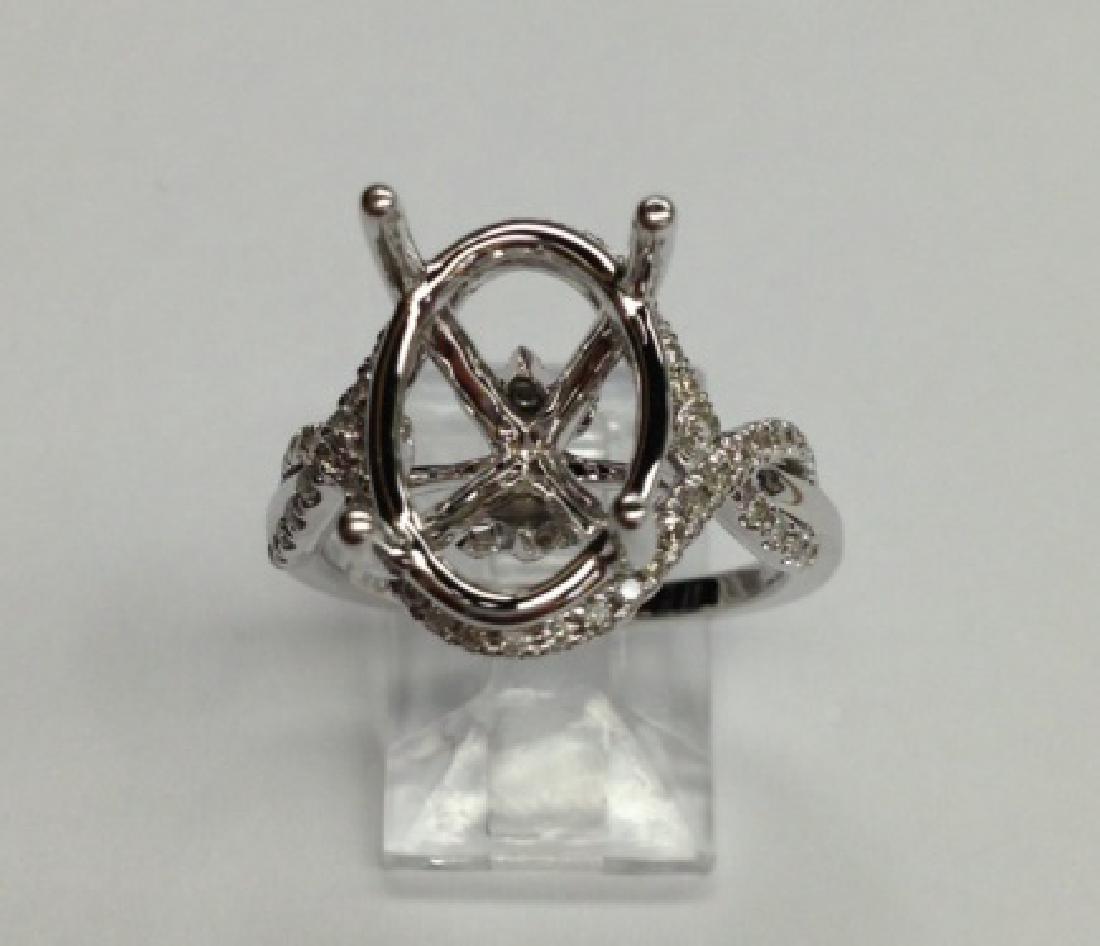 0.44 CTW Diamond Semi Mount  Ring in 14K White Gold