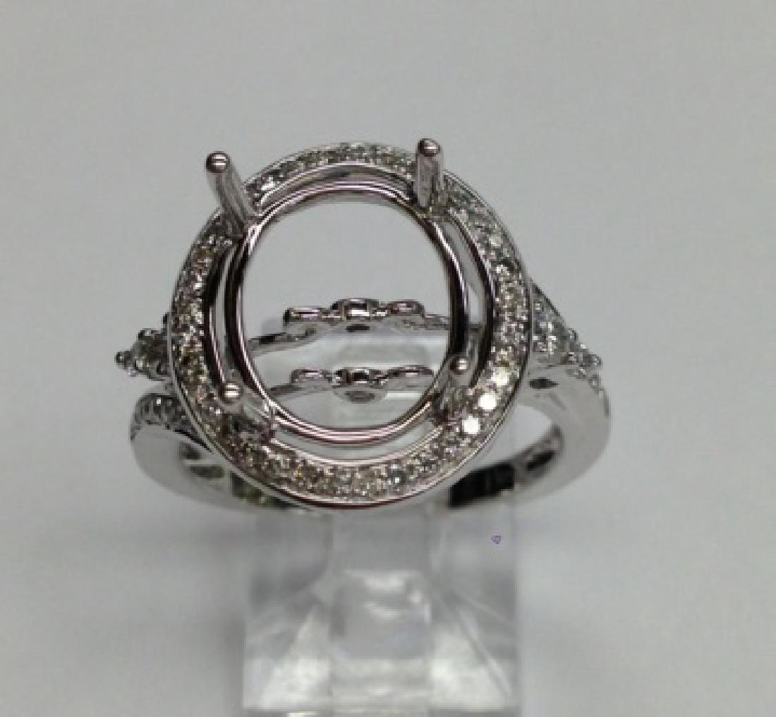 0.43 CTW Diamond Semi Mount  Ring in 14K White Gold