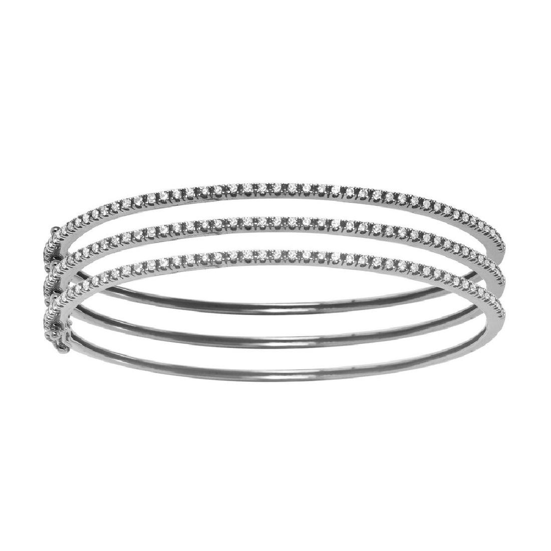 0.52CTW Diamond Bangle Bracelet in 14K White Gold