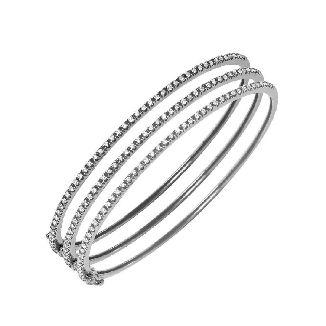 0.52CTW Diamond Bangle Bracelet in 14K White Gold - 2