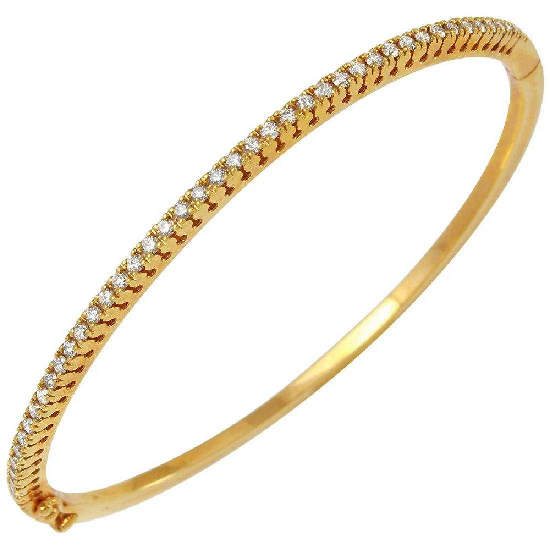 0.84CTW Diamond Bangle Bracelet in 14K Yellow Gold - 2