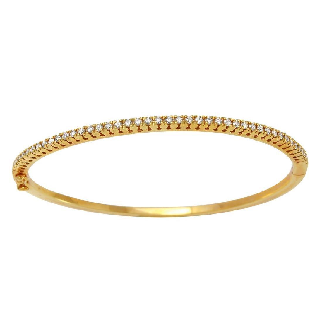 0.84CTW Diamond Bangle Bracelet in 14K Yellow Gold