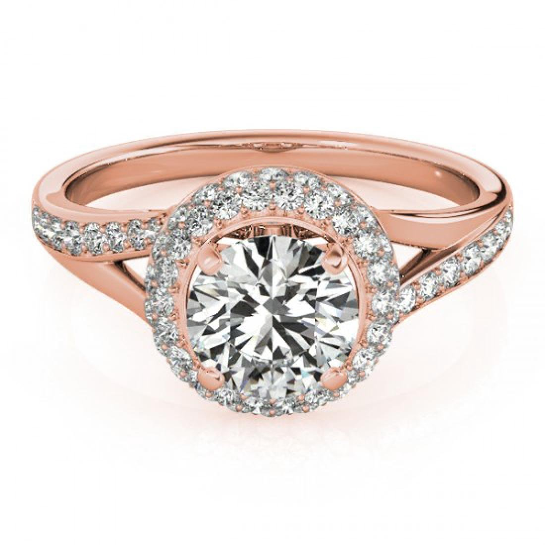 1.35 CTW VS/SI Diamond Solitaire Halo Ring 18K Rose