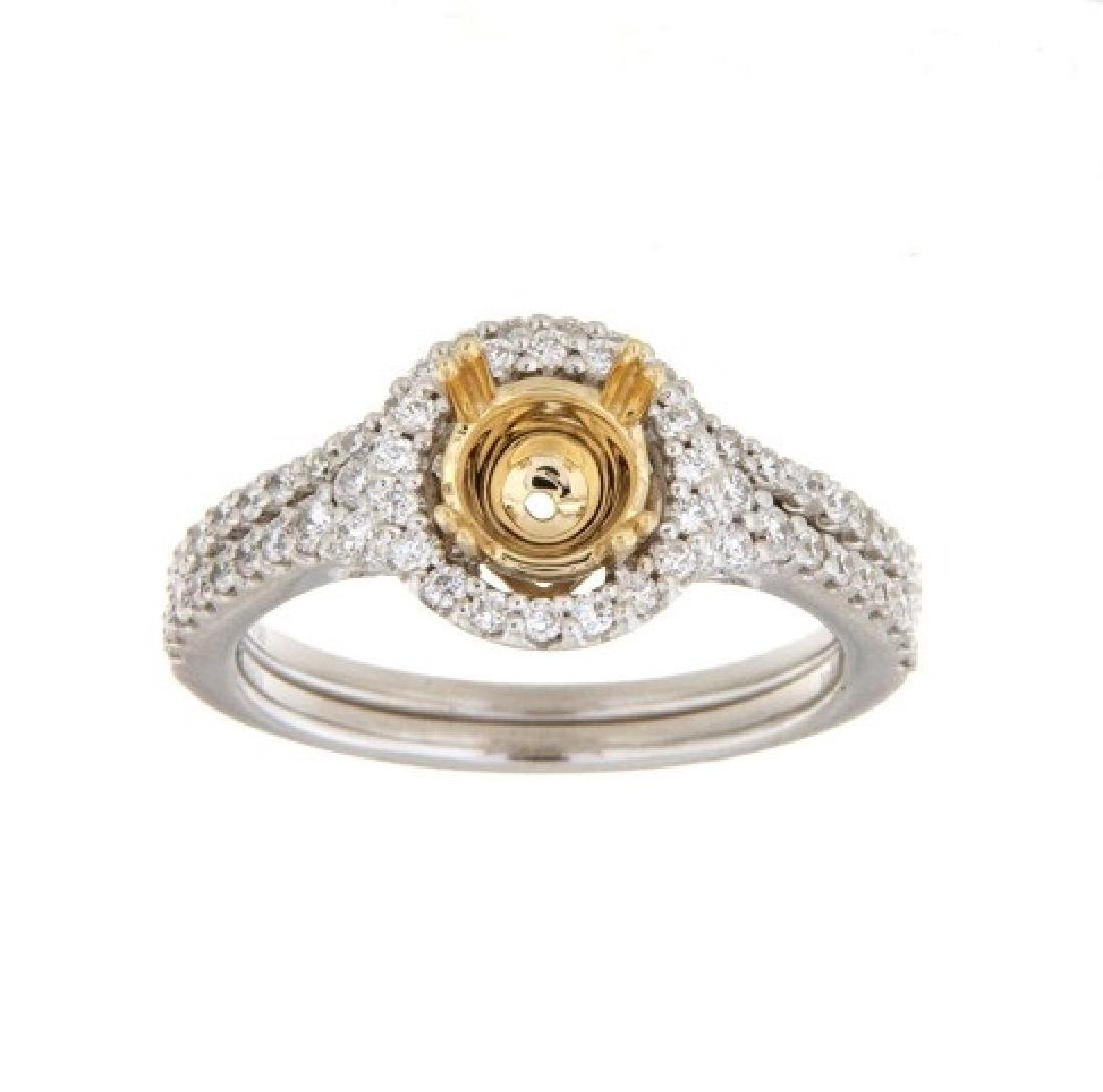 0.53CTW Diamond Engagement Ring 14K Two Tone Yellow
