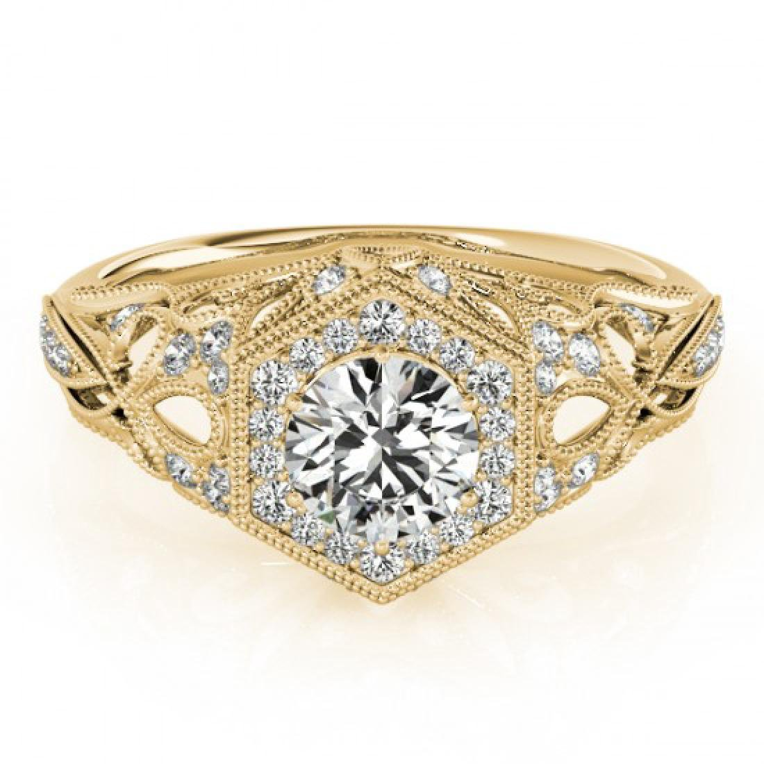 1.4 CTW VS/SI Diamond Solitaire Halo Ring 18K Yellow
