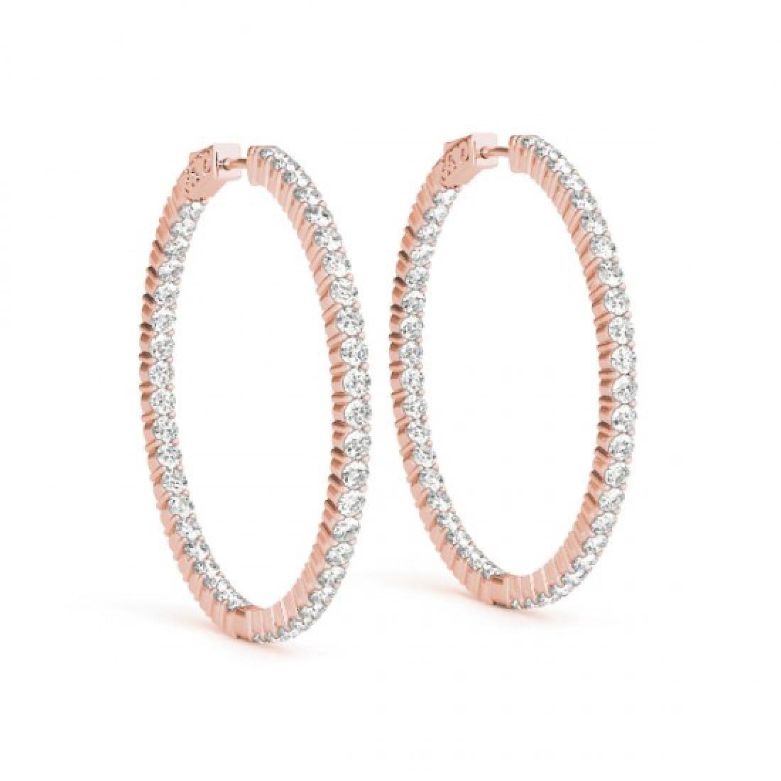 3 CTW Diamond VS/SI Certified 32 Mm Hoop Earrings 14K - 2