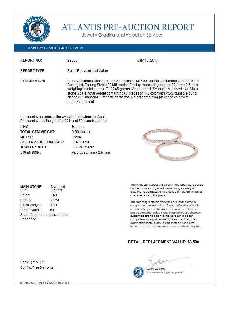 3 CTW Diamond VS/SI Certified 32 Mm Hoop Earrings 14K - 3
