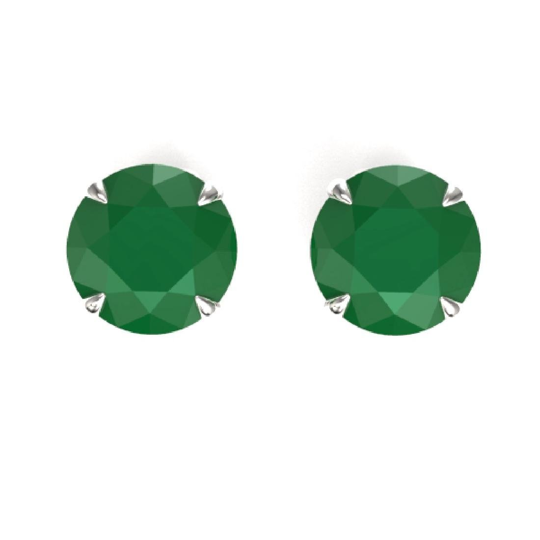 4 CTW Emerald Designer Inspired Solitaire Stud Earrings