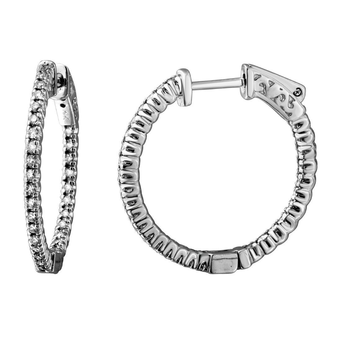 0.51CTW Diamond Hoop Earring 14K White Gold