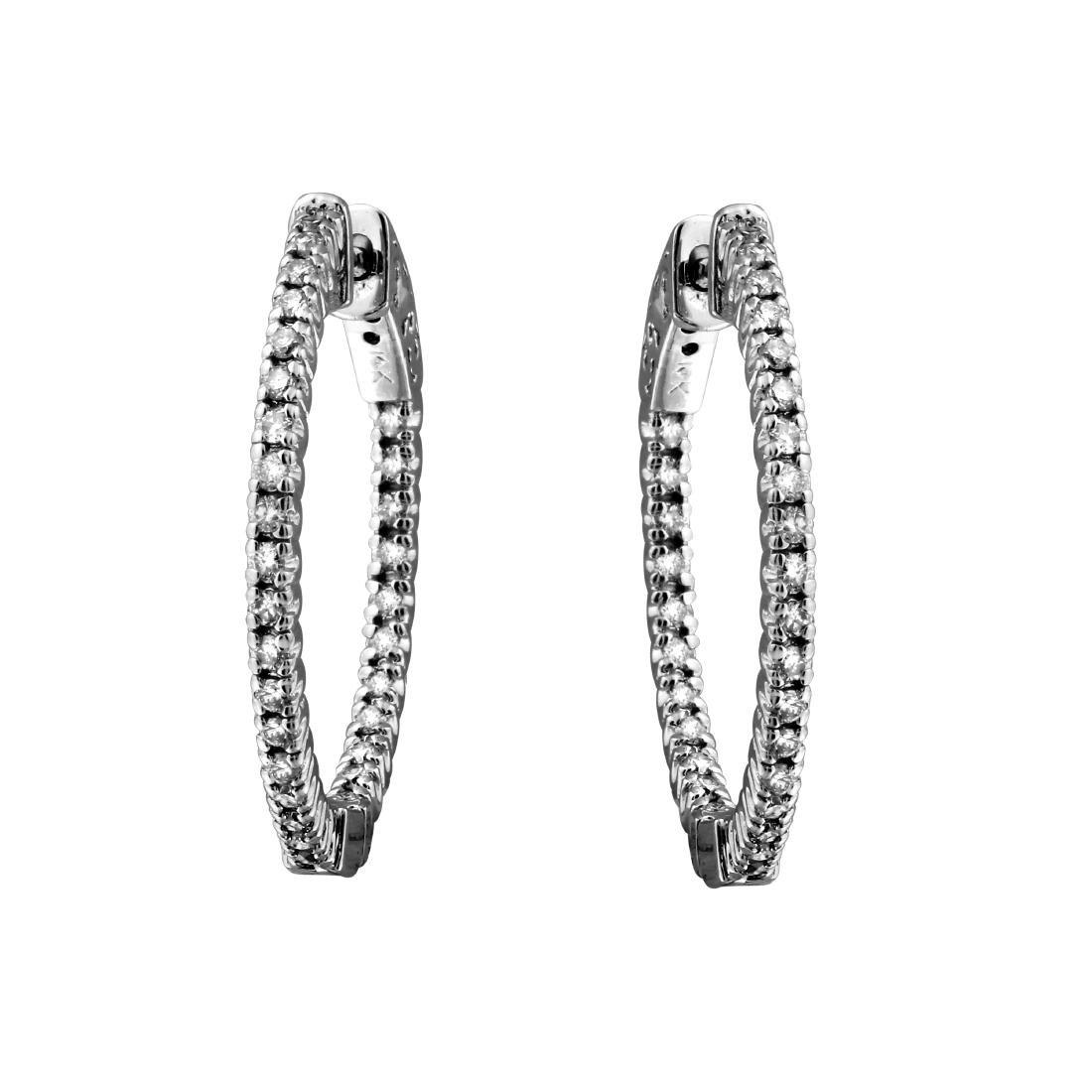 0.51CTW Diamond Hoop Earring 14K White Gold - 2