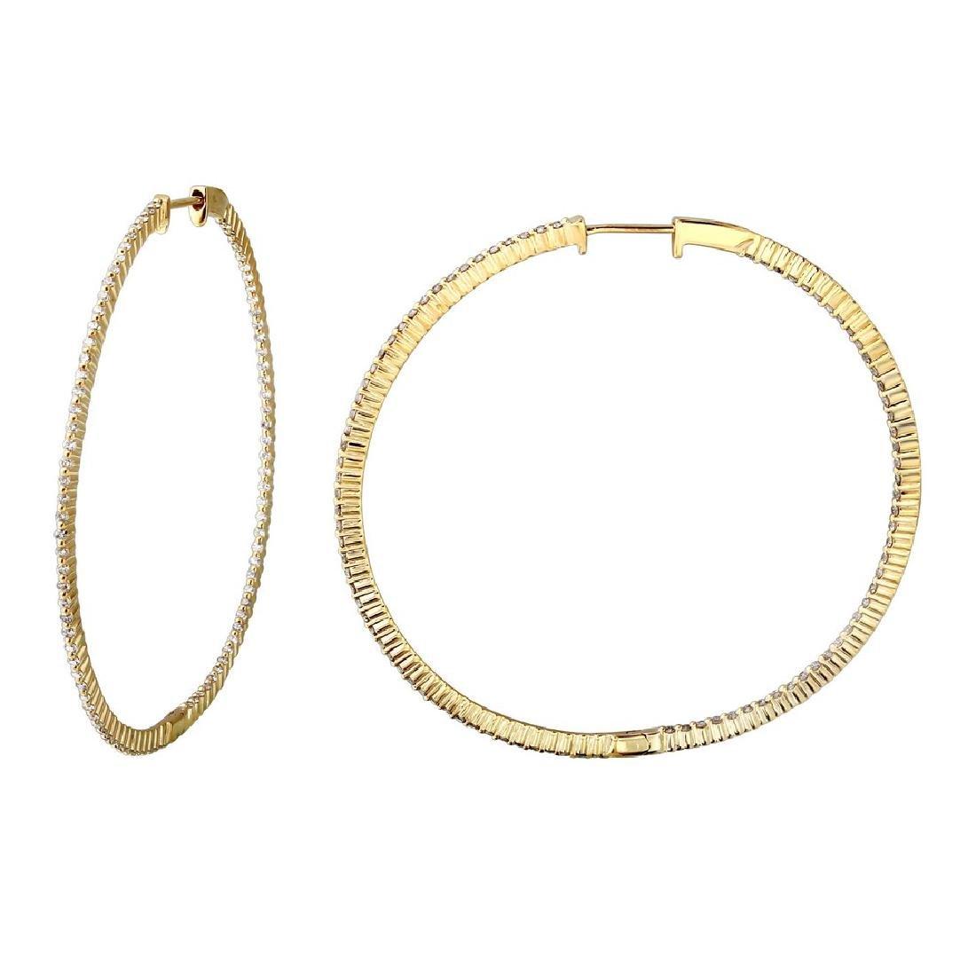 1.28CTW Diamond Hoop Earring 14K Yellow Gold