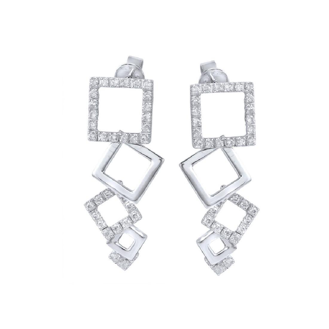 0.8CTW Diamond Drop Earring 14K White Gold - 2