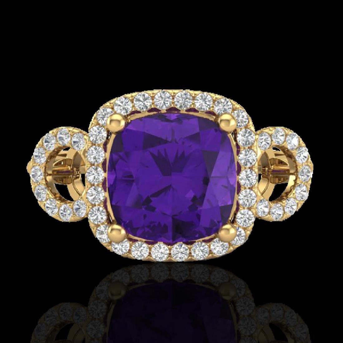 3.75 CTW Amethyst & Micro SI Diamond Certified Ring 18K