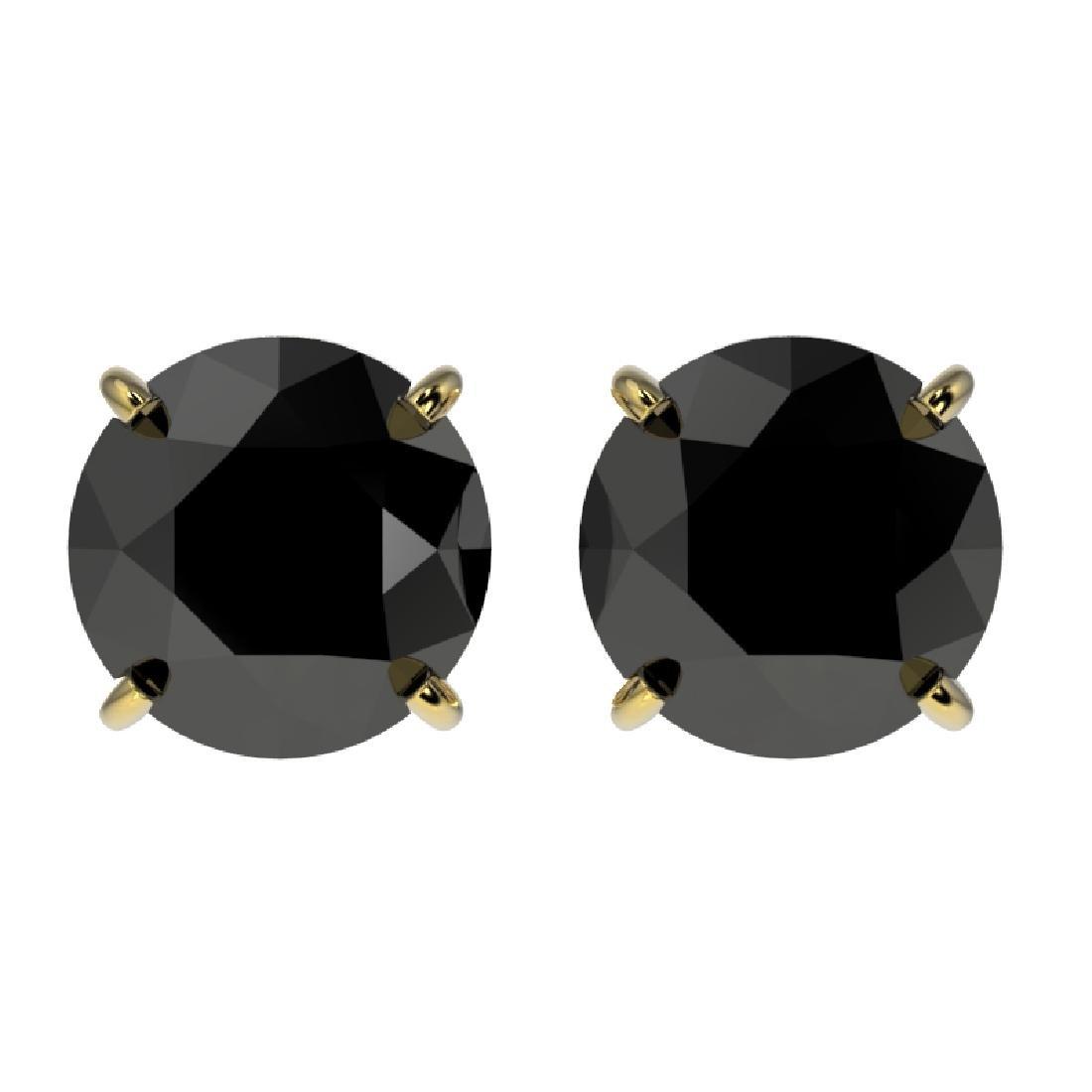 2 CTW Fancy Black VS Diamond Solitaire Stud Earring 10K