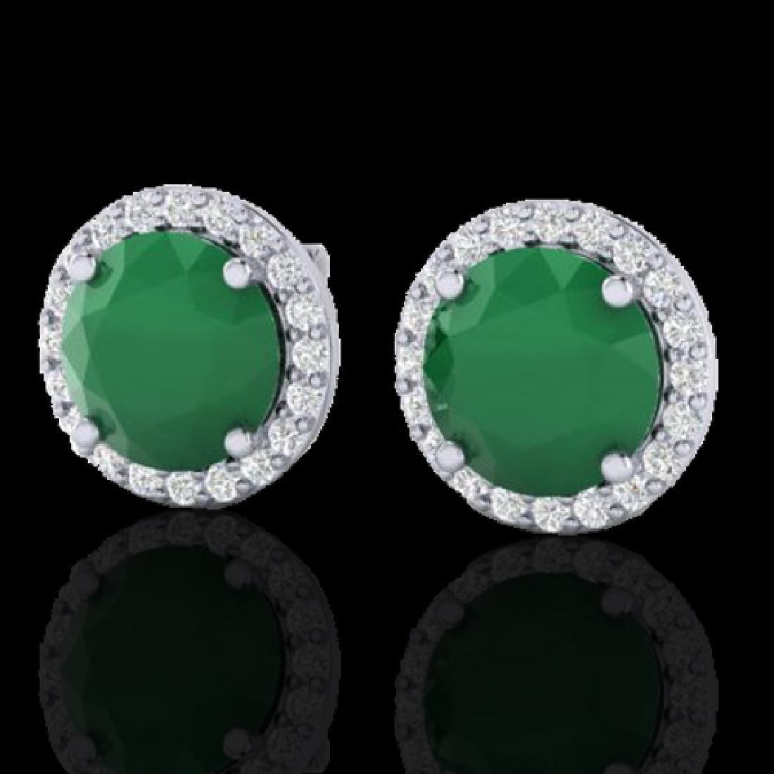 4 CTW Emerald & Halo SI Diamond Micro Pave Earrings