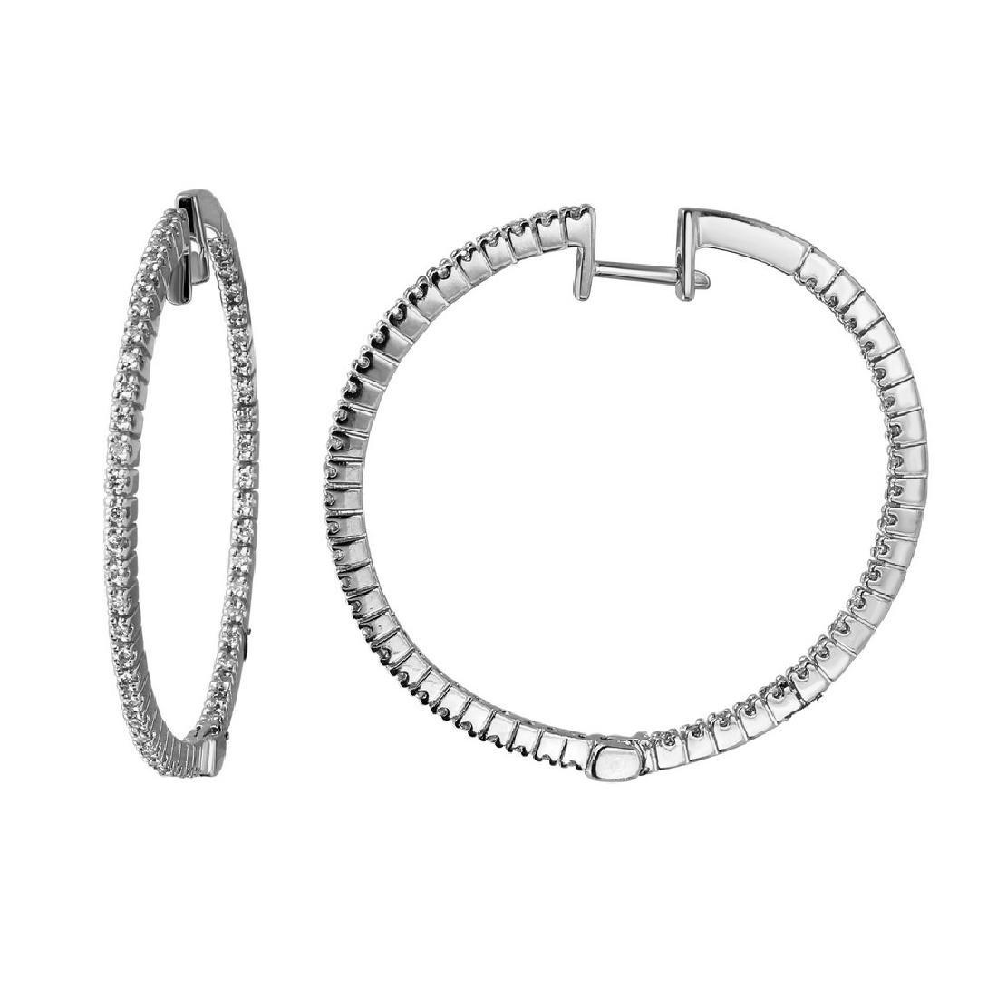 0.54CTW Diamond Hoop  Earring in 18K White Gold