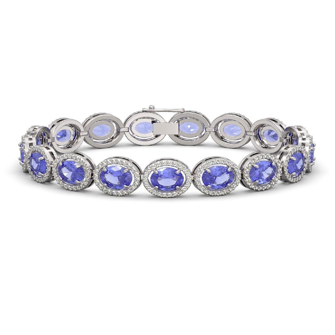 21.35 CTW Tanzanite & Diamond Bracelet White Gold 10K
