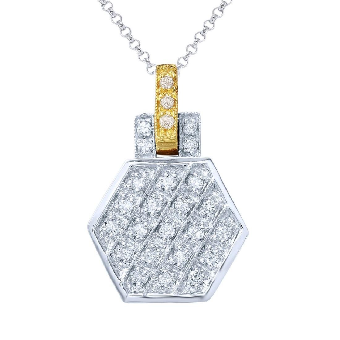 0.29CTW Diamond Slider Necklace in 14K Two Tone Yellow