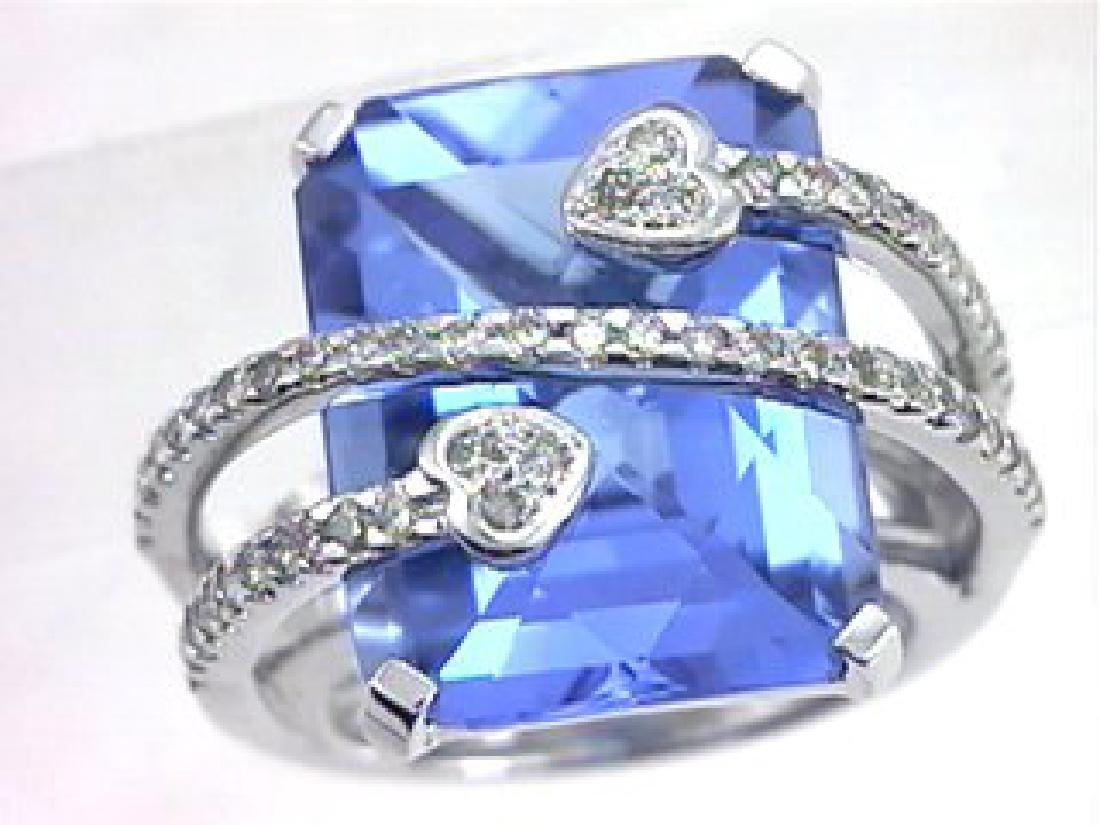 3 CTW Topaz & Diamond Ring in 14K White Gold