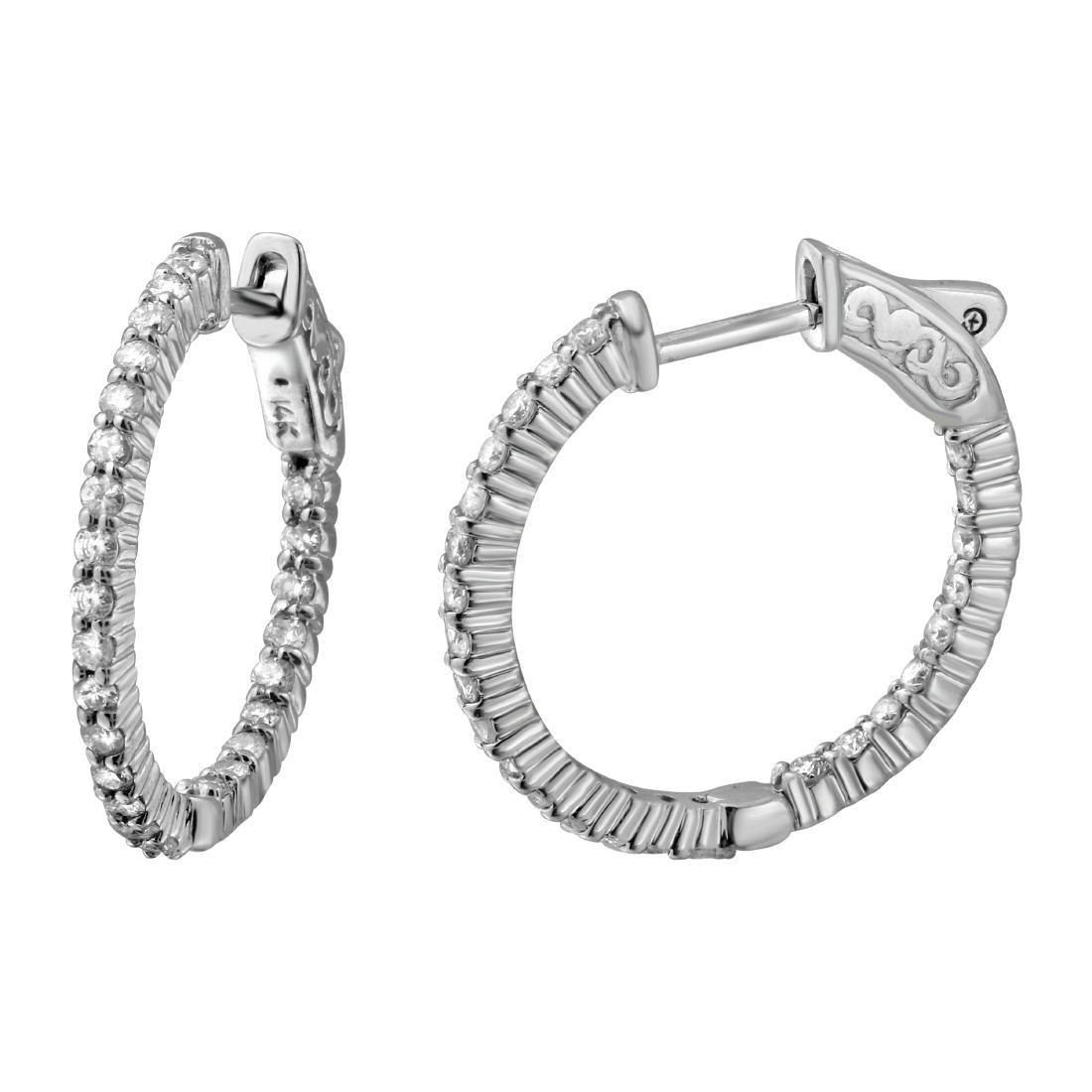 0.93CTW Diamond Hoop  Earring in 14K White Gold