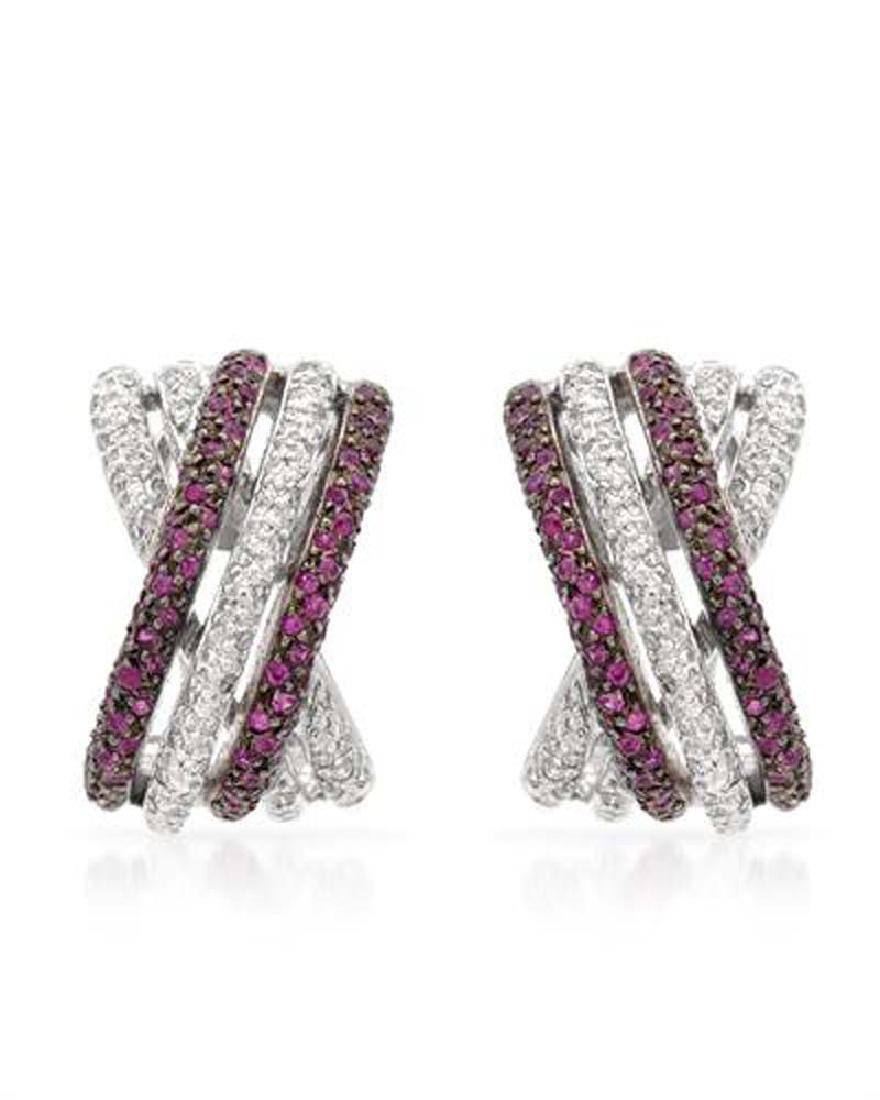 1.17 CTW Ruby & Diamond Huggy  Earring in 14K White