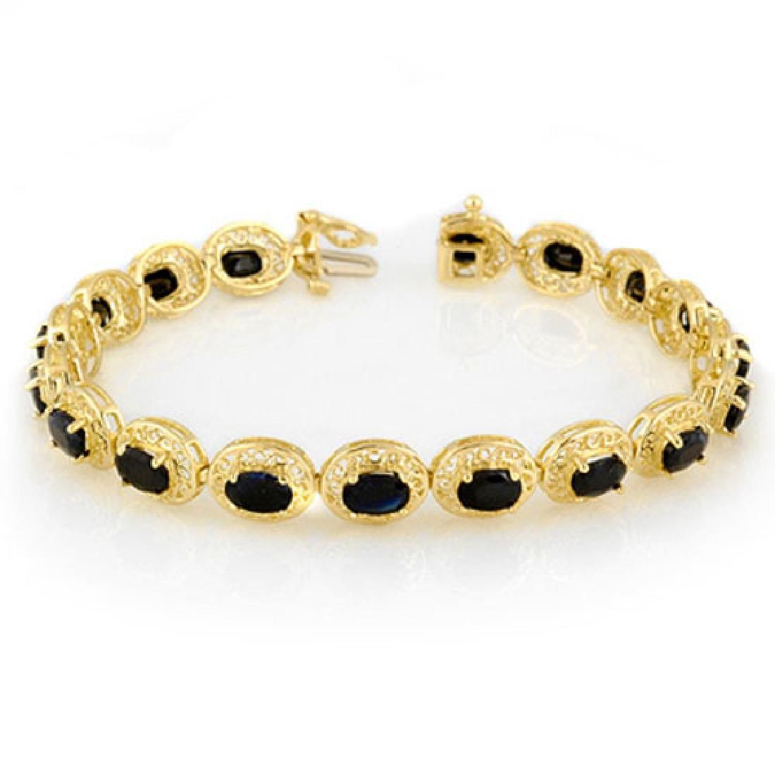 12.0 CTW Blue Sapphire Bracelet 10K Yellow Gold