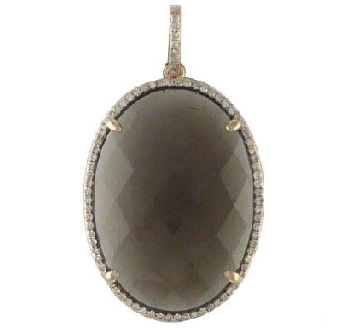 16.75 CTW Smoky Topaz & Diamond Slider Necklace 14K