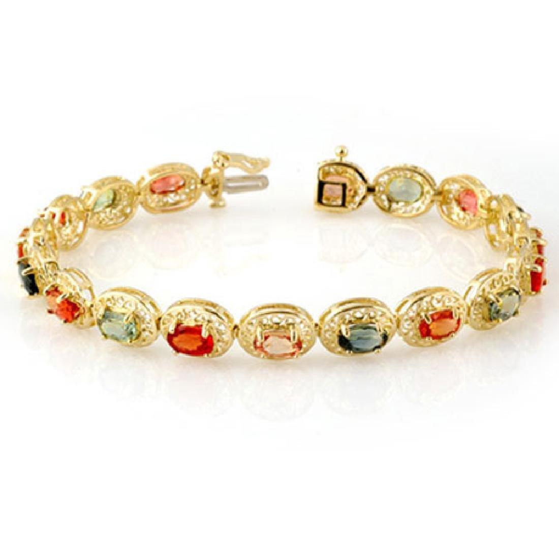 12.90 CTW Multi-Color Sapphire Bracelet 10K Yellow Gold