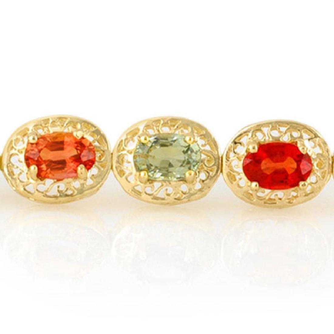 12.90 CTW Multi-Color Sapphire Bracelet 10K Yellow Gold - 2
