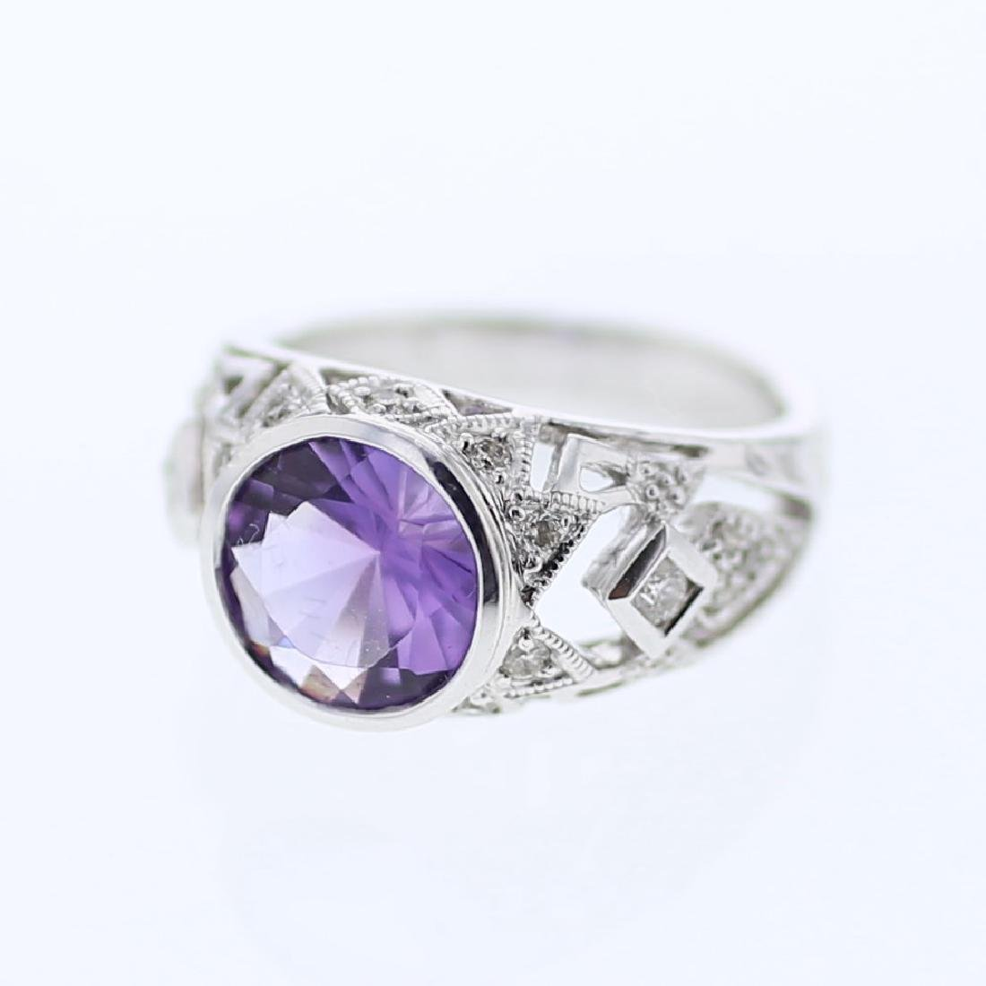 2.68 CTW Amethyst & Diamond Cocktail Ring 14K White
