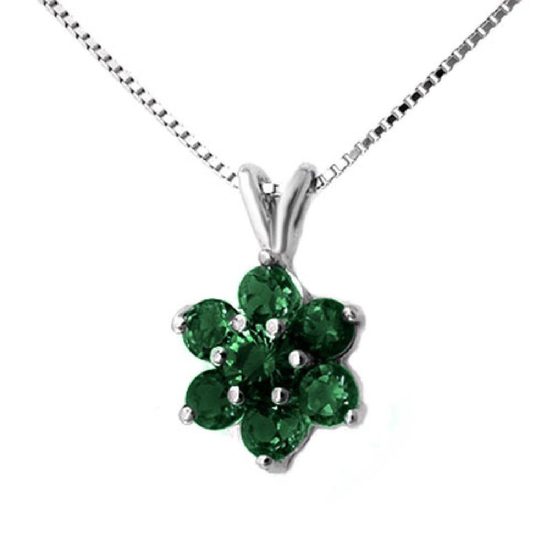 0.75 CTW Emerald Pendant 18K White Gold - 2