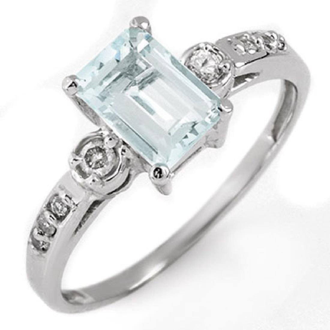 1.20 CTW Aquamarine & Diamond Ring 10K White Gold - 2