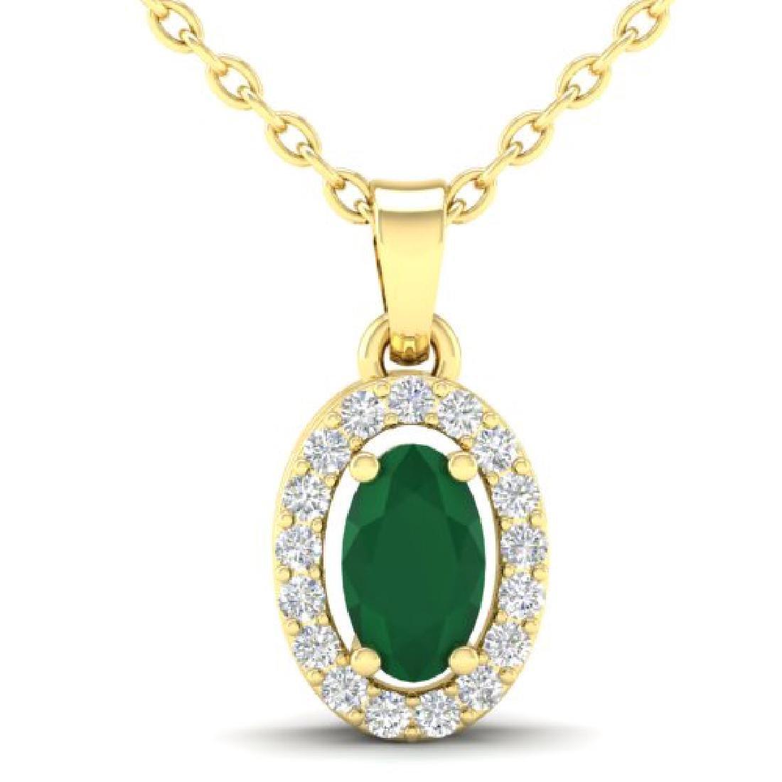 0.51 CTW Emerald & Micro Pave VS/SI Diamond Necklace